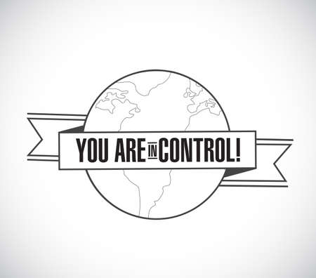 you are in control line globe ribbon message concept isolated over a white background Vectores