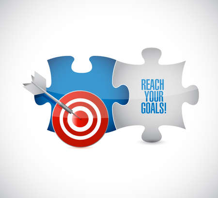 reach your goals target puzzle pieces message isolated over a white background