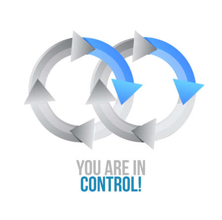 you are in control. moving together cycle concept sign isolated over a white background