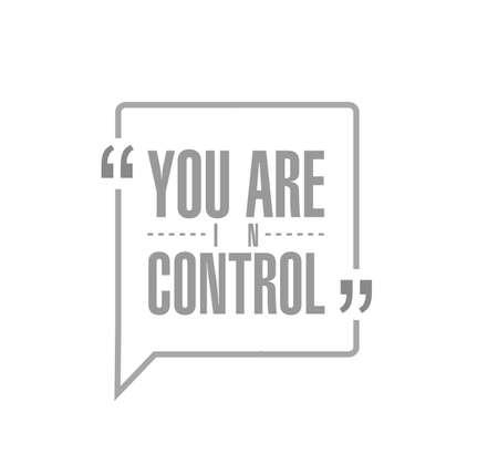 Usted está en concepto de mensaje de cotización de línea de control aislado sobre un fondo blanco.