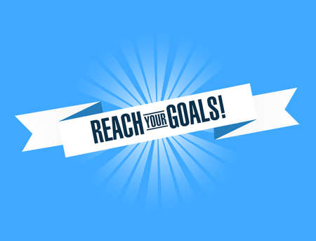 Reach your goals bright ribbon message  isolated over a blue background