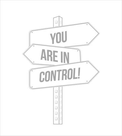 you are in control multiple destination street sign isolated over a white background Foto de archivo - 111682096