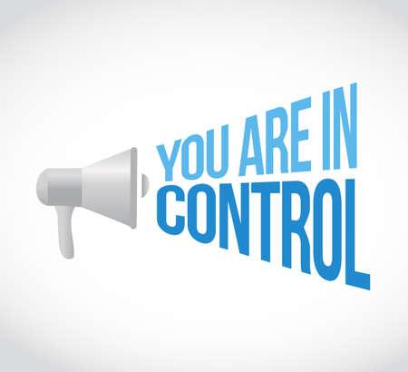 usted está en el concepto de mensaje de altavoz de control aislado sobre un fondo blanco