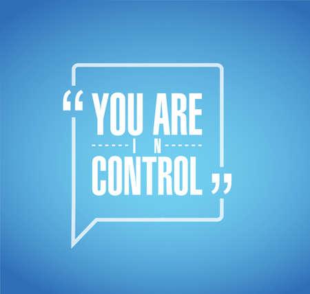 Usted está en concepto de mensaje de cotización de línea de control aislado sobre un fondo azul. Ilustración de vector