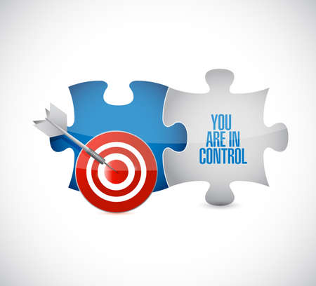 You are in control target puzzle pieces message isolated over a white background Vectores