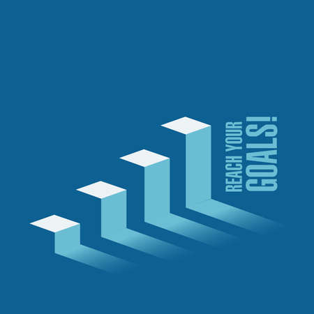 reach your goals business graph message concept isolated over a blue background