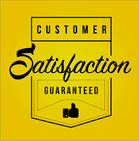 Customer Satisfaction guaranteed Modern stamp message design isolated over a yellow background