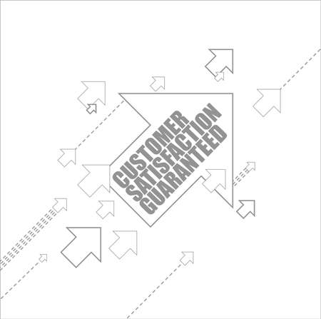Customer Satisfaction guaranteed multiple arrows following a leader concept, isolated over a white background