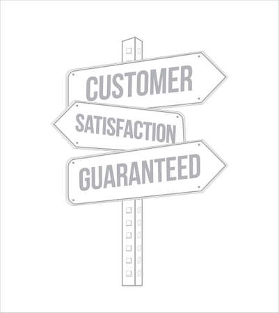 Customer Satisfaction guaranteed multiple destination street sign isolated over a white background