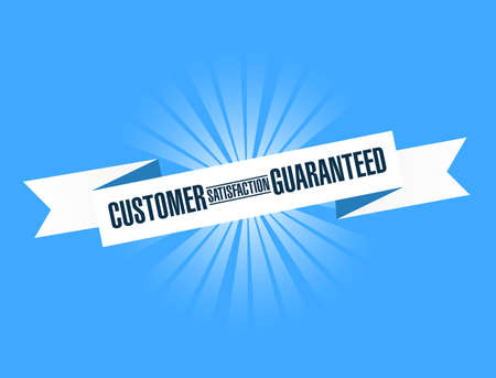 Customer Satisfaction guaranteed bright ribbon message isolated over a blue background