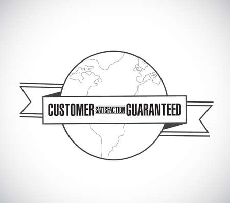 Customer Satisfaction guaranteed line globe ribbon message concept isolated over a white background