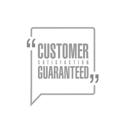 Customer Satisfaction guaranteed line quote message concept isolated over a white background