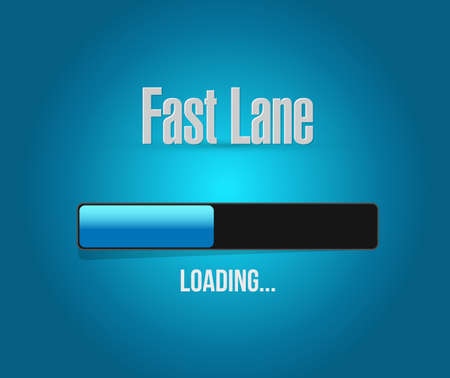 Fast lane Loading bar message concept illustration isolated over a blue background  イラスト・ベクター素材