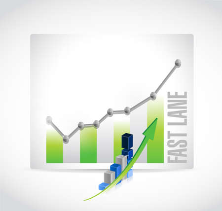Fast lane Business graph success concept illustration isolated over a white background Illustration