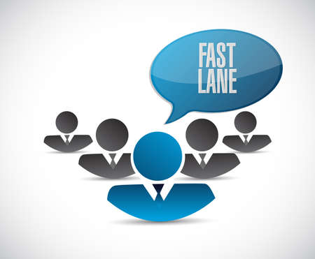 Fast lane teamwork communication concept illustration isolated over a white background