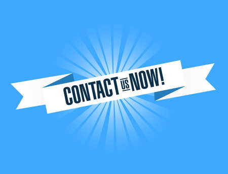 contact us now bright ribbon message isolated over a blue background Illustration