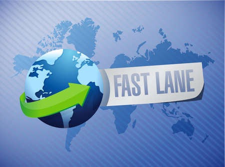 Fast lane International message message concept illustration isolated over a world map background