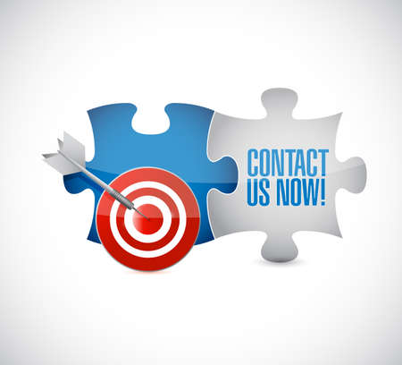 Contact us now target puzzle pieces message isolated over a white background
