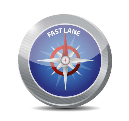 Fast lane compass sign message illustration isolated over a white background