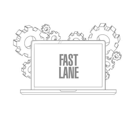 Fast lane Computer message illustration isolated over a white background  イラスト・ベクター素材