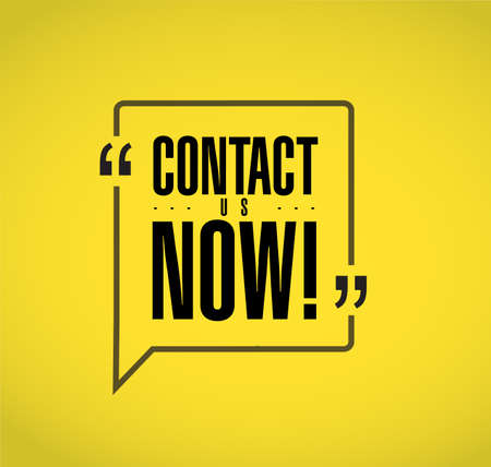 contact us now line quote message concept isolated over a yellow background Illustration