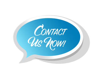 Contact us now bright ribbon message isolated over a white background