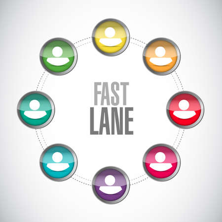 Fast lane people network communication concept illustration isolated over a white background  イラスト・ベクター素材