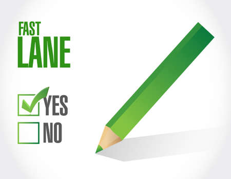 Fast lane survey selection concept illustration isolated over a white background