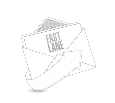 Fast lane email post it message concept illustration isolated over a white background