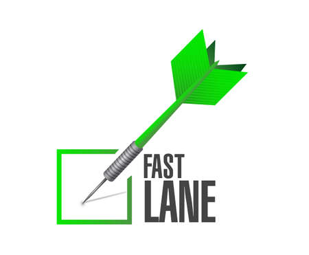 Fast lane Approval check dart message concept illustration isolated over a white background
