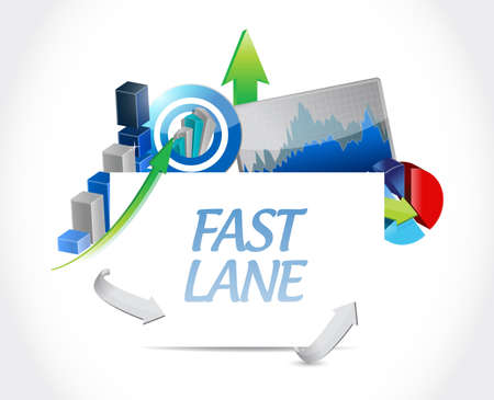 Fast lane Business graph success concept illustration isolated over a white background  イラスト・ベクター素材