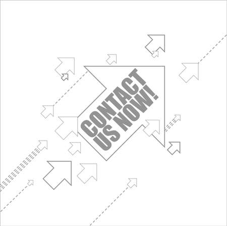 Contact us now multiple arrows following a leader concept, isolated over a white background Illustration