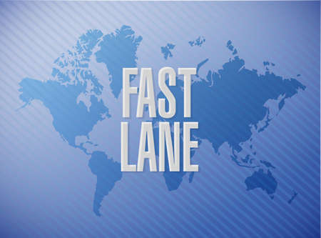 Fast lane message concept illustration isolated over a world map background