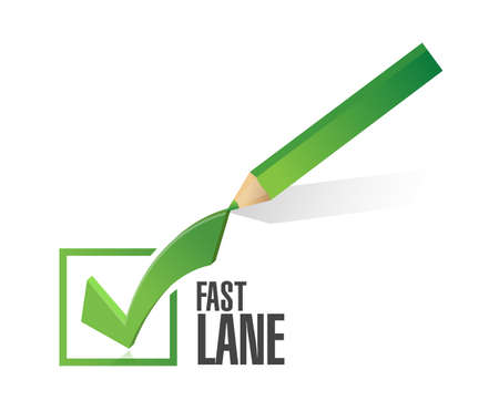 Fast lane check mark selection concept illustration isolated over a white background