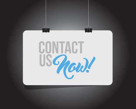 Contact us now hanging banner message isolated over a black background Illustration