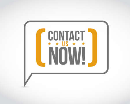 Contact us now message bubble isolated over a white background Illustration