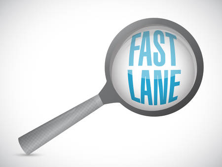 Fast lane Magnify glass concept illustration isolated over a white background
