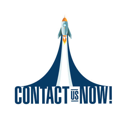 Contact us now rocket smoke message illustration isolated over a white background
