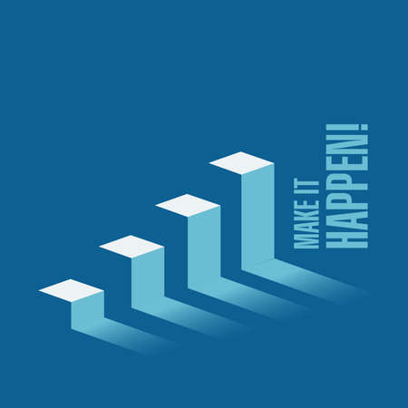 Make it happen business graph message concept isolated over a blue background