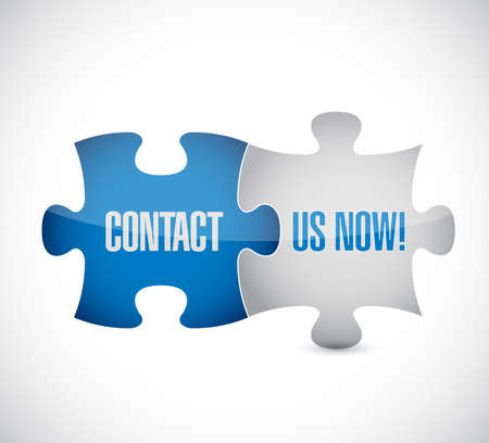 Contact us now puzzle pieces message concept, isolated over a white background Illustration