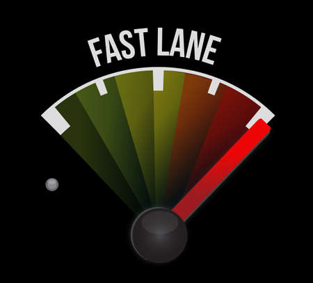 Fast lane speedometer message concept illustration isolated over a black background