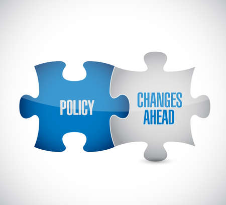 Policy changes ahead puzzle pieces message concept, isolated over a white background