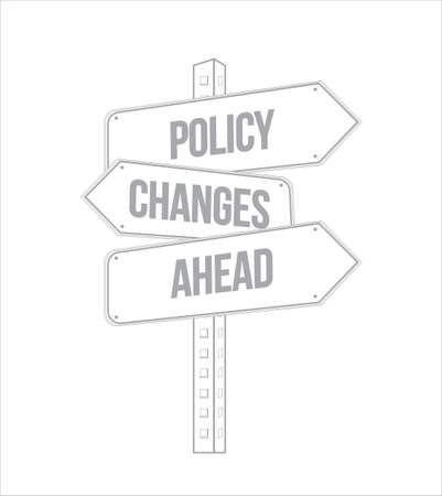 Policy changes ahead multiple destination line street sign isolated over a white background Ilustração