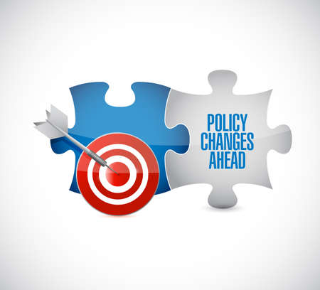 Policy changes ahead target puzzle pieces message isolated over a white background