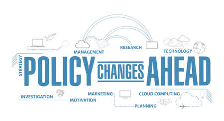 Policy changes ahead diagram plan concept isolated over a white background Illustration