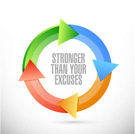 Stronger than Excuses color cycle sign isolated over a white background