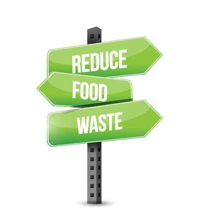 Reduce Food Waste multiple destination color street sign isolated over a white background Vektoros illusztráció