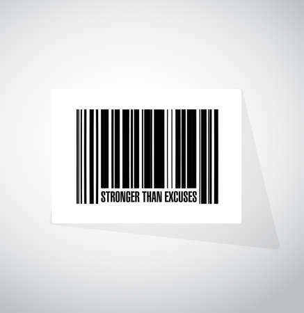 Stronger than Excuses barcode sign isolated over a white background