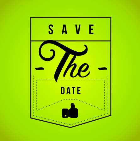 save the date Modern stamp message design isolated over a green background