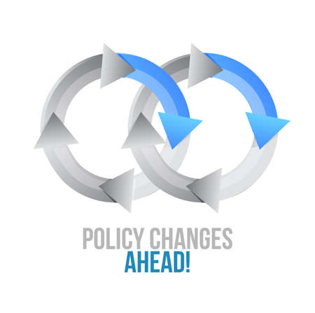 Policy changes ahead. moving together cycle concept sign isolated over a white background Illustration